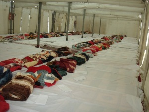 Inside of a tent on Mina – the main camp site for Hajj
