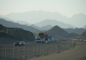 The silhouette of Mountains between Madinah and Makkah
