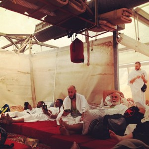 Inside a tent on on the first day of Hajj