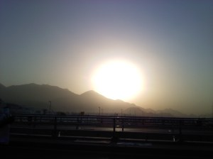 Sunrise over Mina on the final morning of Hajj 2011