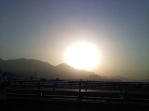 Sunrise over Mina on the final morning of Hajj 2011