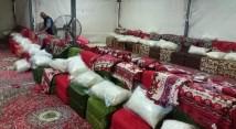 Inside a tent on Mina - the main camp site of Hajj