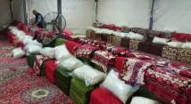 Inside a tent on Mina - the main camp site of Hajj