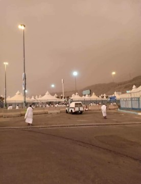 A sandstorm on the first day of Hajj