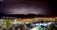 A lightning storm on the first night of Hajj