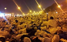 Pilgrims sleep wherever they can find space on Muzdalifah