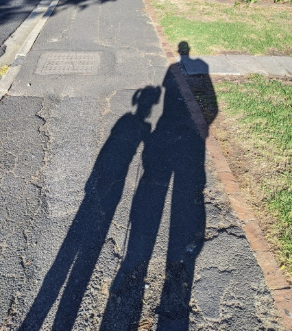 Shadows of myself and my daughter